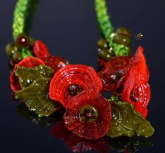 Hey, I found this really awesome Etsy listing at https://www.etsy.com/listing/229193248/red-poppy-flower-necklace-handmade