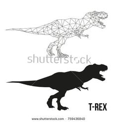 bf4a9270a Abstract geometric triangle polygonal dino tyrannosaurus silhouette  isolated on white background