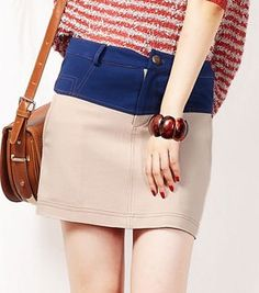 Nude Button Fly Pockets Denim Skirts