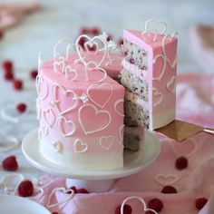 A raspberry vanilla cake filled with white chocolate buttercream and then covered in a creamy Italian buttercream. Did I mention the pink ombré and all of the Pretty Cakes, Beautiful Cakes, Amazing Cakes, Valentines Day Cakes, Valentine Desserts, Valentines Recipes, Kids Valentines, Saint Valentine, White Chocolate Buttercream