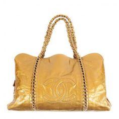 Authentic Chanel Luxury Ligne Liquid Gold Patent Leather XL Tote