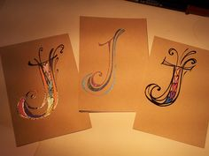 I did these Zenspirations(R) Monograms on  Strathmore's Awesome 400 Series Tan Toned Sketch Paper using Sakura's wonderful Glaze, Moonlight & Stardust pens.