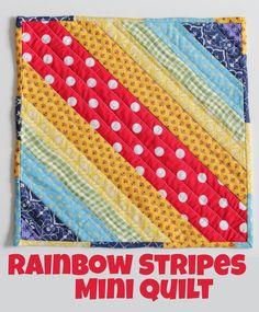Mini Quilt: Rainbow Stripes - tutorial to make this simple mini quilt #quilting #patchwork #rainbow #miniquilt