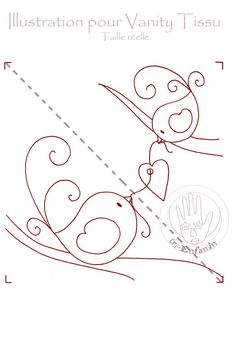Cute pattern that could be used for anything! #redwork #birds #mother