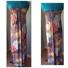 """Just In: Peacock Paisley Strapless Maxi Dress This strapless maxi dress is simply STUNNING.  Such intricate details in the pattern, beautiful earthy hues, and a really flattering draped front.  It's so silky, you will want to live in it! Condition: EUC - like brand new.  Maybe worn once.  No rips, stains, odors.  PERFECT condition. Material: Poly/Spandex with a poly lining Size: M Bust: UP TO 40"""" - starts about 20"""" Waist: (natural) 30"""" unstreched (plenty of room for stretch) Length: 48""""…"""