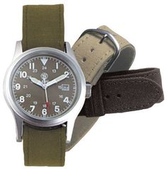 Smith & Wesson Men's SWW-1464-OD Military Multi Canvas Straps Watch Smith & Wesson. $22.70. 1-year limited warranty. A scratch resistant hardened mineral glass crystal protects the dial of the watch. Water resistant up to 30-meters (90-feet). Has a round olive drab face and 3 interchangeable sturdy canvas straps (black, tan, and olive drab). Features precision quartz Japanese movement and includes 3 hands to show the hours, minutes and seconds