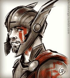 """chrisbexiga: """" On INSTAGRAM The new trailer for """"Thor: Ragnarok"""" has me super hyped! :D I love his helmet design… and his lightning eyes, couldn't resist drawing that! Can't wait to watch all the awesome ridiculousness! *Please don't repost my work..."""
