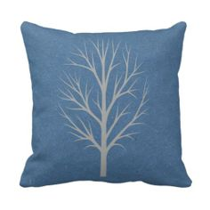 Blue and Gray Winter Tree Throw Pillow