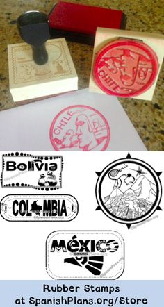 """Rubber """"passport"""" stamps for Spanish teachers. Choose among 12 Spanish speaking countries."""