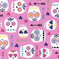 Modern Sugar Skulls on Pink by Timeless Treasures folklorico calaveras sugar skull novelty fabric Fabric Crafts, Sewing Crafts, Sewing Projects, Diy Projects, Fabric Patterns, Print Patterns, Timeless Treasures Fabric, Bird Quilt, Pink Sugar