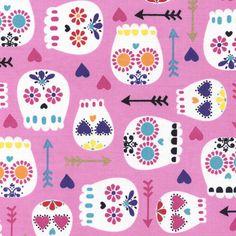 Fabric... Modern Sugar Skulls on Pink by Timeless Treasures
