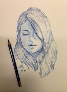 drawing of a girl's face artwork drawings, art, pencil portrait - girl face Pencil Art Drawings, Art Drawings Sketches, Sketch Art, Creative Pencil Drawings, Face Pencil Drawing, Sketches Of Girls Faces, Artwork Drawings, Side Face Drawing, Drawing Faces