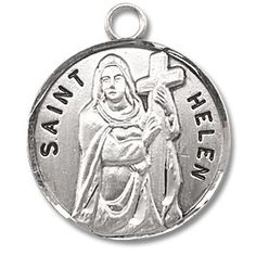 Sterling Silver Round Shaped St. Helen Medal by HMH | Catholic Shopping .com