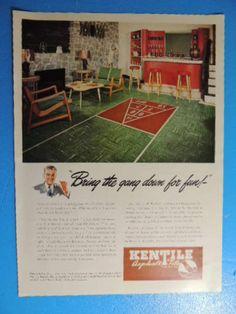 1947 KENTILE ASPHALT TILE (PLAYROOM WITH SHUFFLEBOARD) PHOTO ART AD