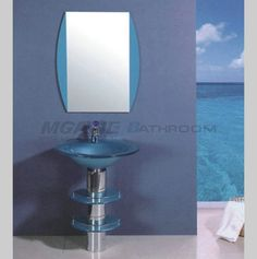blue glass washbasin with stainless steel stand, matching blue bathroom mirror, silver mirror, 5mm mirror