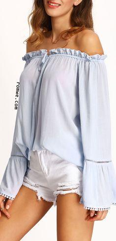 Light Blue Off The Shoulder Bell Sleeve Blouse