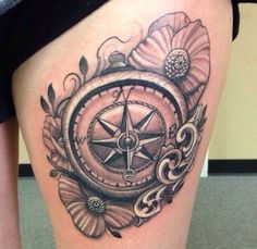 Newest addition to my thigh :) #compasstattoo #girlswithtattoos #thightattoo