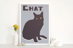'Chat' screen print from Double Merrick My Room, Graphic Prints, Screen Printing, Cat Lovers, Illustration Art, Gallery Wall, Wall Art, Pets, Artwork