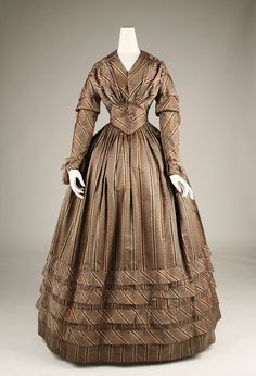 Dress: ca. 1841, American, silk.