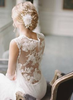 Lace Wedding Dress Ivory Lace Bridal Gown Blush Low Back