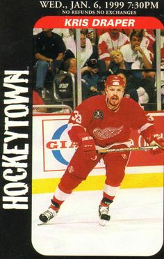 """Kristopher Draper (b. May 24, 1971, Toronto, Canada) is a Canadian retired professional ice hockey player. Draper is a four-time winner of the Stanley Cup, a Frank J. Selke Trophy winner and scored over 100 goals in the Red Wings uniform. Draper was a member of the famous Grind Line in Detroit, consisting of himself, Kirk Maltby and either Joe Kocur or Darren McCarty. Draper began his reputation as the """"One Dollar Man"""", becoming 1 of only 5 players to play over 1,000 games in a Red Wings…"""