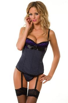 Girl Boss Corset 3222 Velvet Kitten  Pinstripe corset features purple satin with large fishnet detailing at bust with large ribbon trim and flower, removable shoulder straps and garters, back lace up with modesty panel, side hook and eye closure for easy dressing and matching G-String.