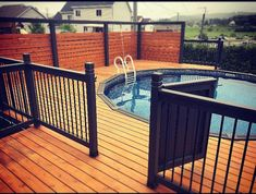 Patio Deck Designs, Backyard Pool Designs, Backyard Patio, Decks Around Pools, Above Ground Pool Landscaping, Pool Deck Furniture, Swimming Pool Decks, Dream Pools, In Ground Pools