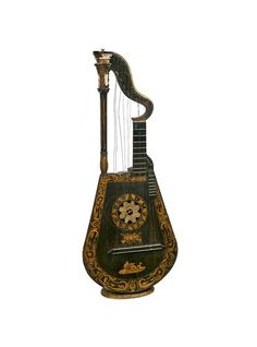 A very finely inlaid Harp Lute possiblly by Edward Light. This fine stringed instrument stands on its on and is in relatively good condition for its age. || TheHighBoy || #highboystyle #antiquesmakeitbetter #antiques #vintage