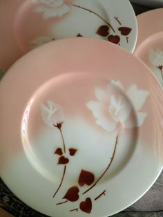 Set of 4 Airbrushed Dinner Plates Syracuse China Peach Rose Stencil Airbrush Dishes by MinniesFlea & 11 Syracuse China Bombay Plates Bombay Scalloped Floral Rim Salad ...