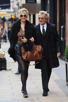 Who Wore What This Weekend    Rod Stewart still look very good and Penny Lancaster is just fab with leather and leopard in a tasteful way
