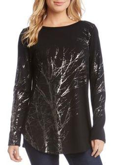 Karen Kane Women's Tree Print Sweater - Black - Xs