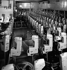 Vintage images of Bernina manufacturing and advertising by Bernina International AG. WOW