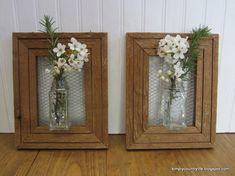Would be cute in the kitchen  How I Made Wall Vases From Repurposed Spice Jars and Wood Frames