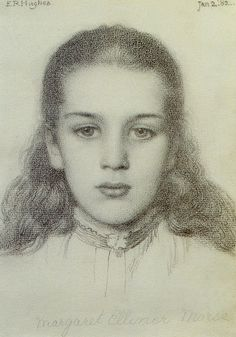 "Edward Robert Hughes (185 -1914), ""Portrait of Margaret Ellinor Morse"""