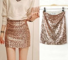 Golden Plain Sequin High Waist Above Knee Slim Sexy Packet Buttock Pencil Mini Skirt