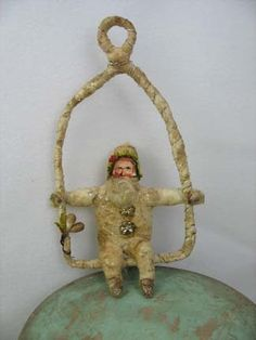 Antique Type Spun Cotton Santa on Swing Ornament by ArbutusHunter