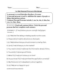 Regular Pronouns Worksheets