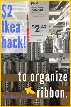 They call it a utensil holder. We call it a crafting superstar. And so inexpensive. This popular Ikea hack turns an Ordning utensil holder into a DIY ri - Do It Yourself Organization, Ribbon Organization, Ribbon Storage, Sewing Room Organization, Craft Room Storage, Diy Ribbon, Diy Storage, Organization Hacks, Storage Ideas