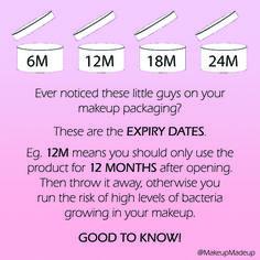 Makeup & cosmetics expiry dates.  Makeup & cosmetics expiration dates.