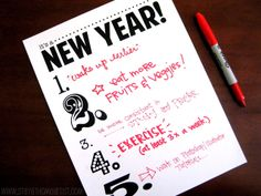 new year resolution goals free printable