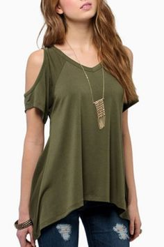 Stylish V-Neck Solid Color Cut Out Short Sleeve T-Shirt For Women