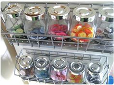 buttons in Ikea spice jars