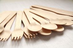 Party Set 150 EcoFriendly Wooden SPOONS FORKS by maxandolivia, $19.00