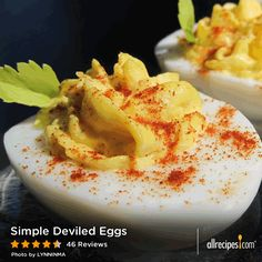 """Simple Deviled Eggs   """"I've never made Deviled Eggs with onion before, and I certainly won't be making them without ever again. I used the recipe for 'Divine Hard-Boiled Eggs' recipe to make the eggs the day before."""" -LVRebelGril"""