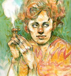 """""""Smoke"""", Acuarela sobre papel, 26,5 x 30,5 cm. Autor: Federico Milano, 2013. Original y reproducciones de todos los tamaños en venta. Contacto: fedemilano@gmail.com   Web: https://sites.google.com/site/fedemilano/home"""