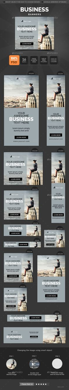 Business Banners Template #web #banner Download: http://graphicriver.net/item/business-banners/10678805?ref=ksioks