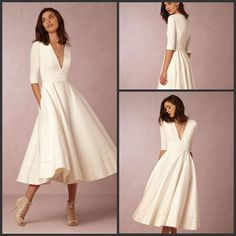 2016 Vintage Satin White A Line Wedding Dresses 1/2 Long Sleeves V Neck Bridal Gowns Country Wedding Vestido De Noiva Custom W Vintage Dresses Online Wedding Ball Gowns From Alexiabridal, $117.28| Dhgate.Com