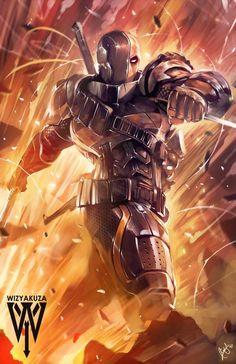 Deathstroke _ Assassin on the Move _ by Wizyakuza Dc Deathstroke, Deathstroke The Terminator, Deathstroke Cosplay, Comic Books Art, Comic Art, Book Art, Arte Dc Comics, Batman Comics, Univers Dc