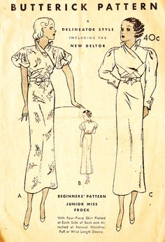 Butterick 5210 Misses' Vintage 1930s Evening Dress Sewing Pattern by DRCRosePatterns on Etsy