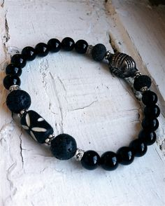 SALE Mens' Handmade 2in1 BraceletLava Bali Bead by MaryHilton